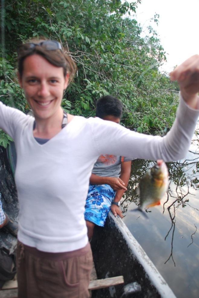 Vincent ne sait pas prendre une photo mais Audrey sait pêcher les piranhas !