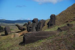 Les moai, abandonnés dans divers états de finition