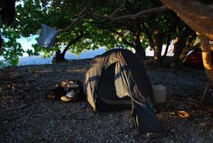 Notre campement parfait, en bord de mer, à l'ombre des arbres...