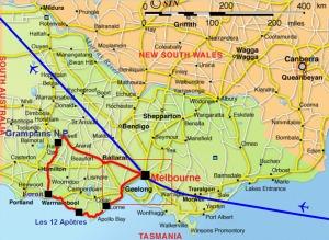 D'anord le Victoria autour de Melbourne...